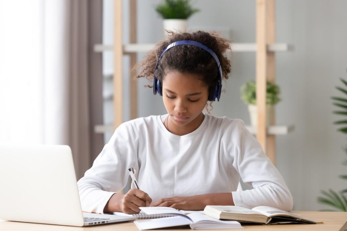 Girl taking an online class