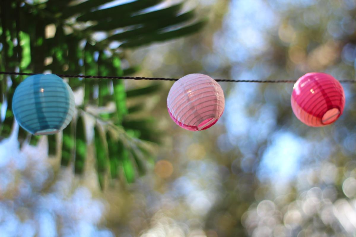 Paper lanterns on string