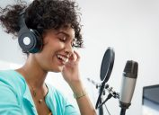 Woman creating a podcast