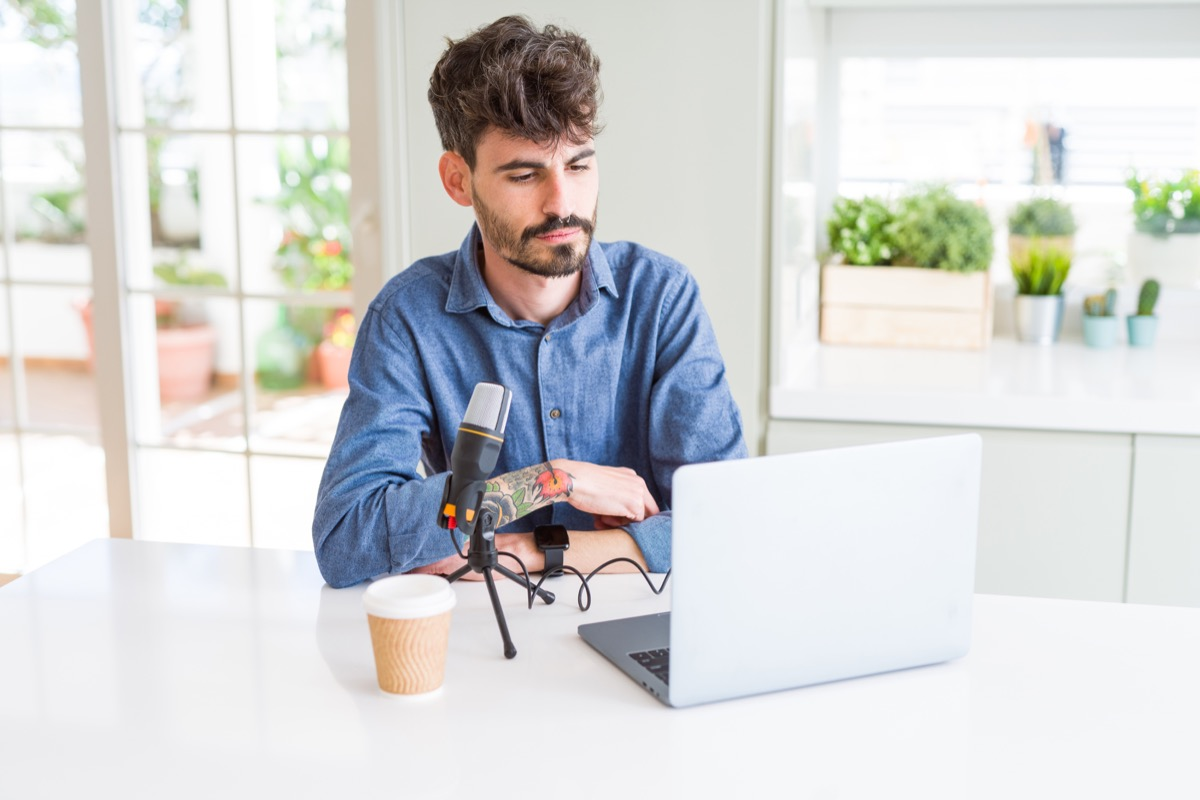 Man making a podcast