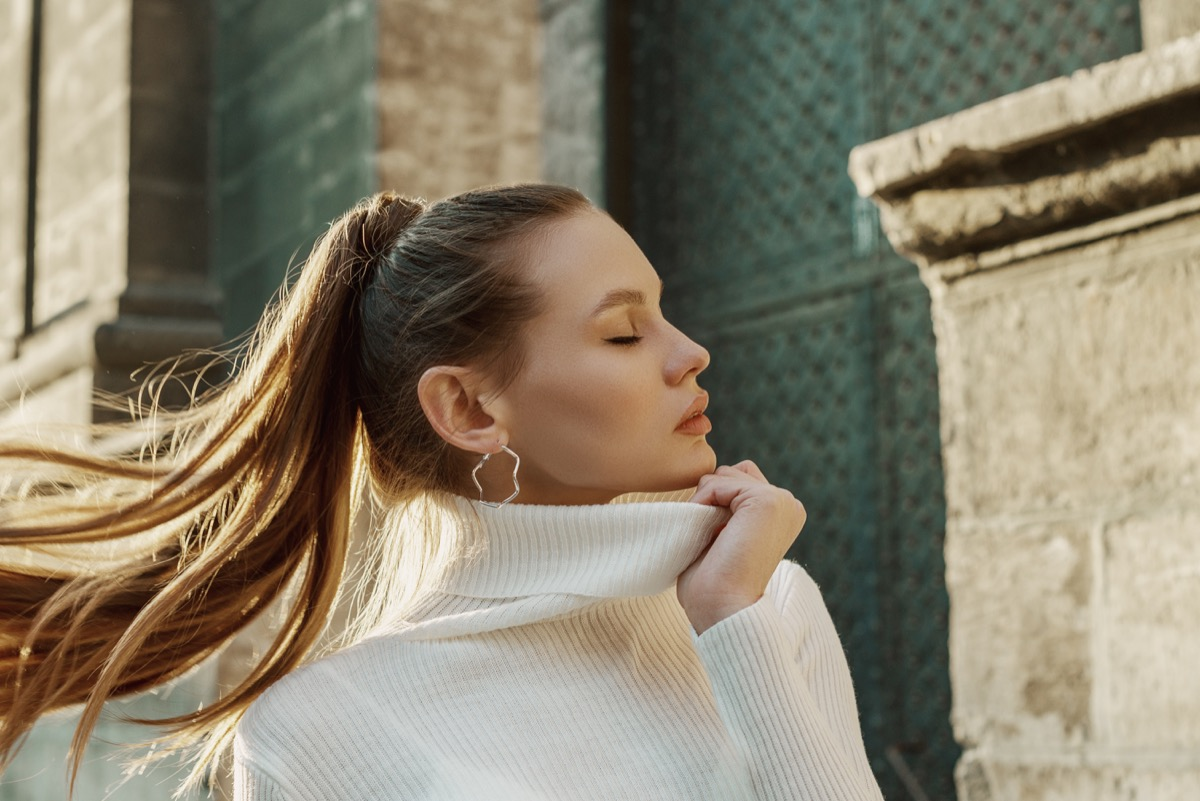 Woman with a ponytail