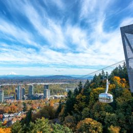 Portland Aerial Tram with a view of Portland, Oregon with Mt. Hood in the background