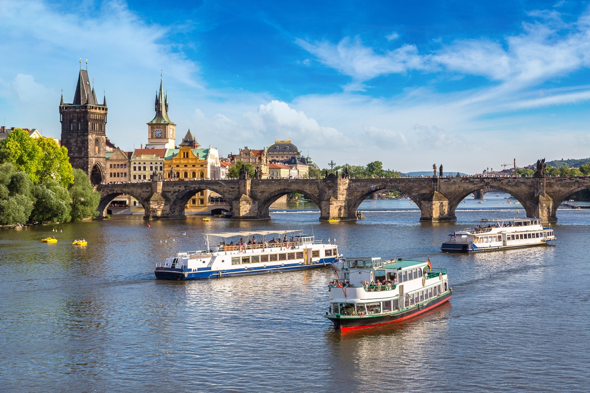 river in Prague with tourist boats