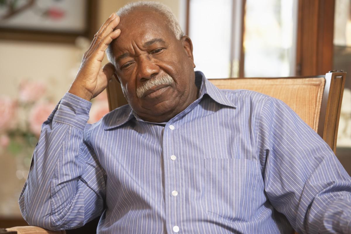 Older man bored retired