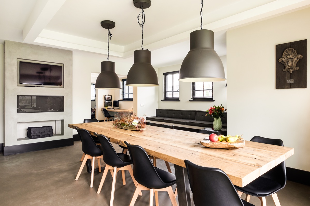 modern dining room with scandinavian wood dining table