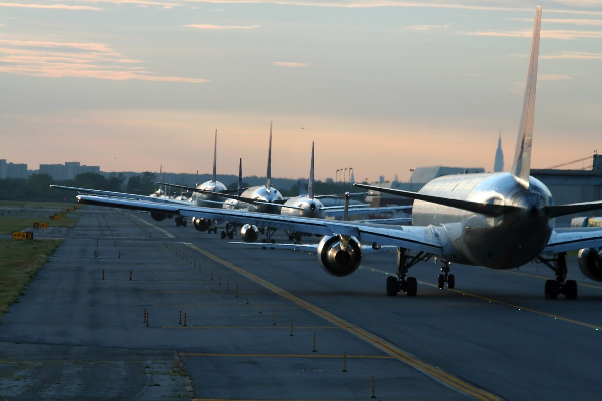 airplanes waiting for takeoff