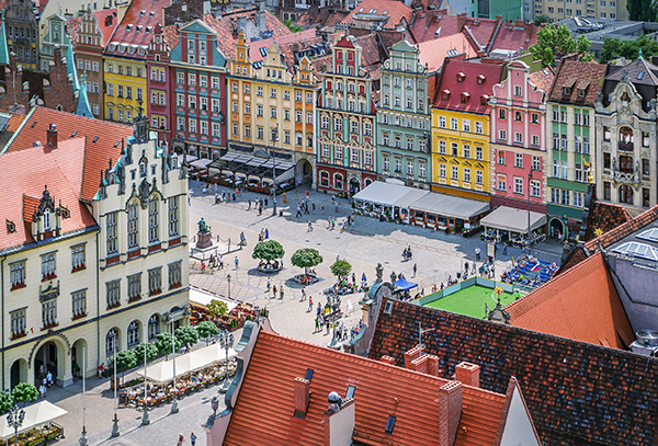 aerial view of a square and colorful buildings in wroclaw, poland