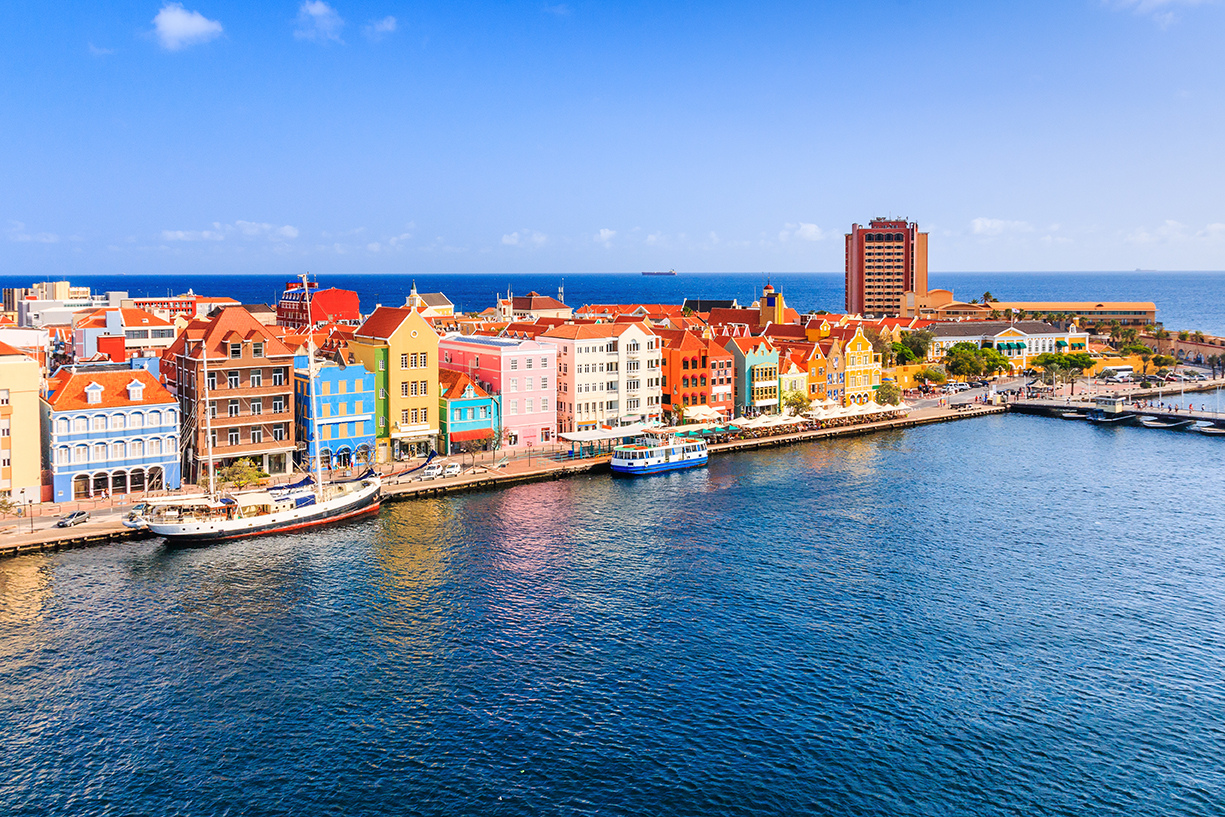 aerial view of the colorful waterfront buildings in downtown willemstad, curacao