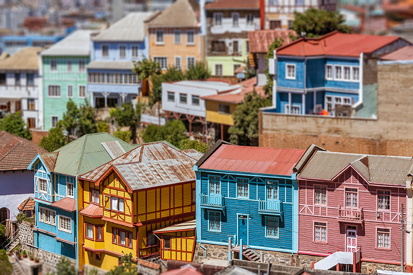 colorful houses on a steep hillside in valparaiso