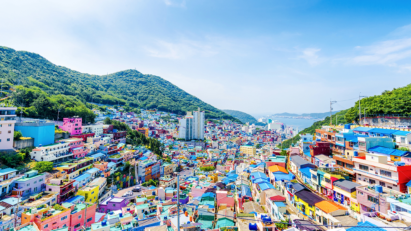 aerial view of a colorful neighborhood in busan, south korea