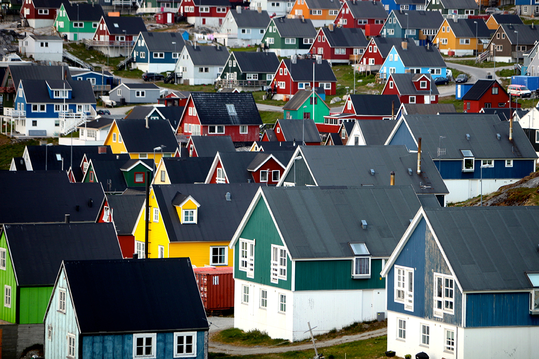 colorful homes in greenland
