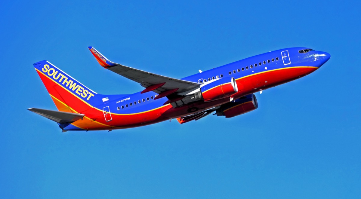 southwest airplane flying