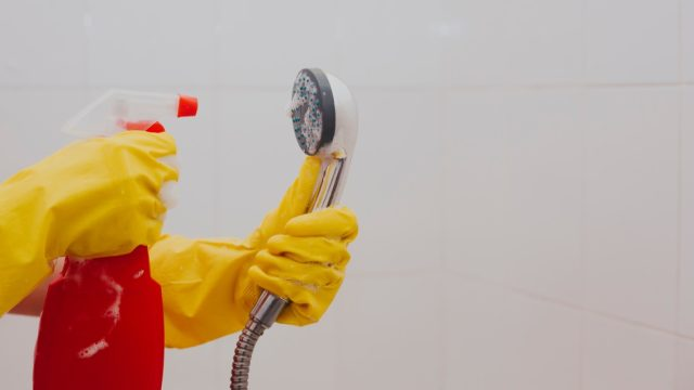 Spraying shower head with cleaning solution and gloves on