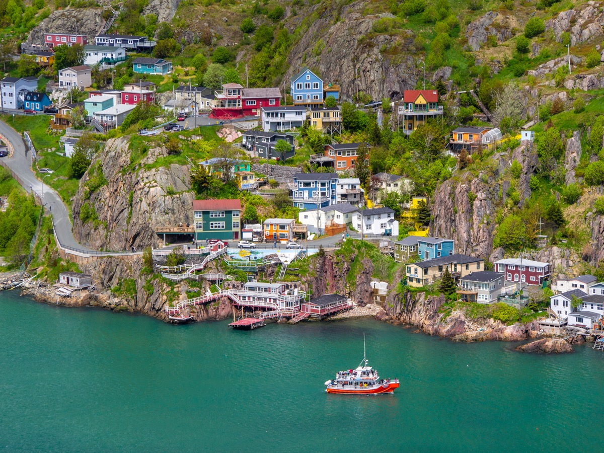Colorful houses on the slope of Signal Hill in St. John's, Newfoundland, Canada
