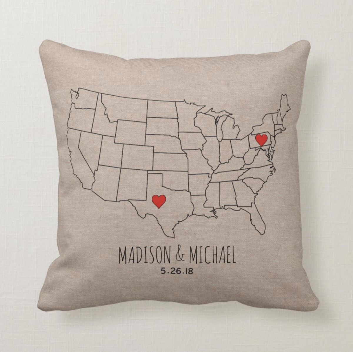 State map customized pillow