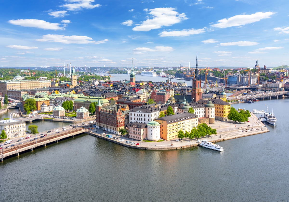 Panorama of Stockholm Old Town (Gamla Stan) from the top of the town hall, Sweden