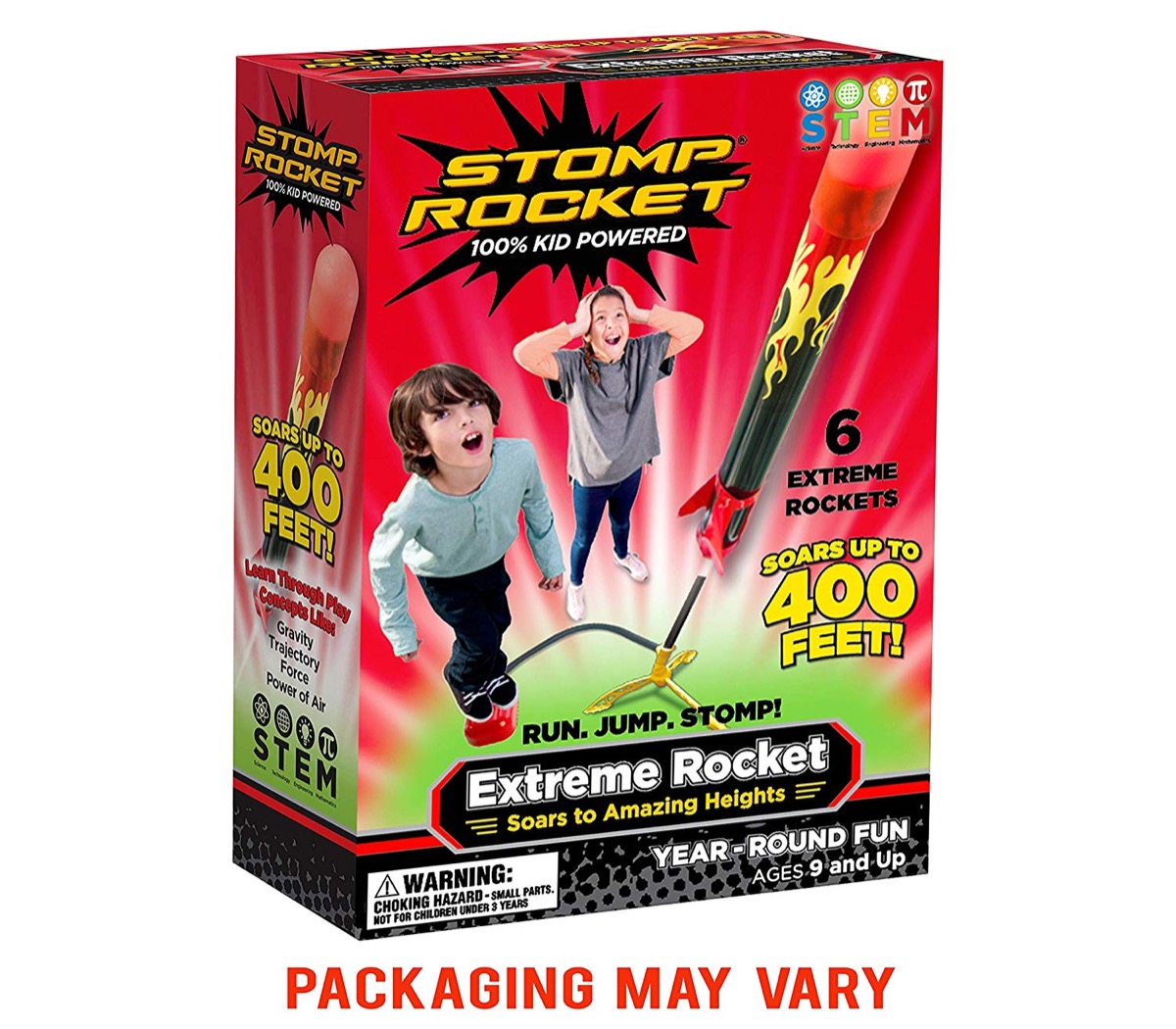 box with toy rocket in it