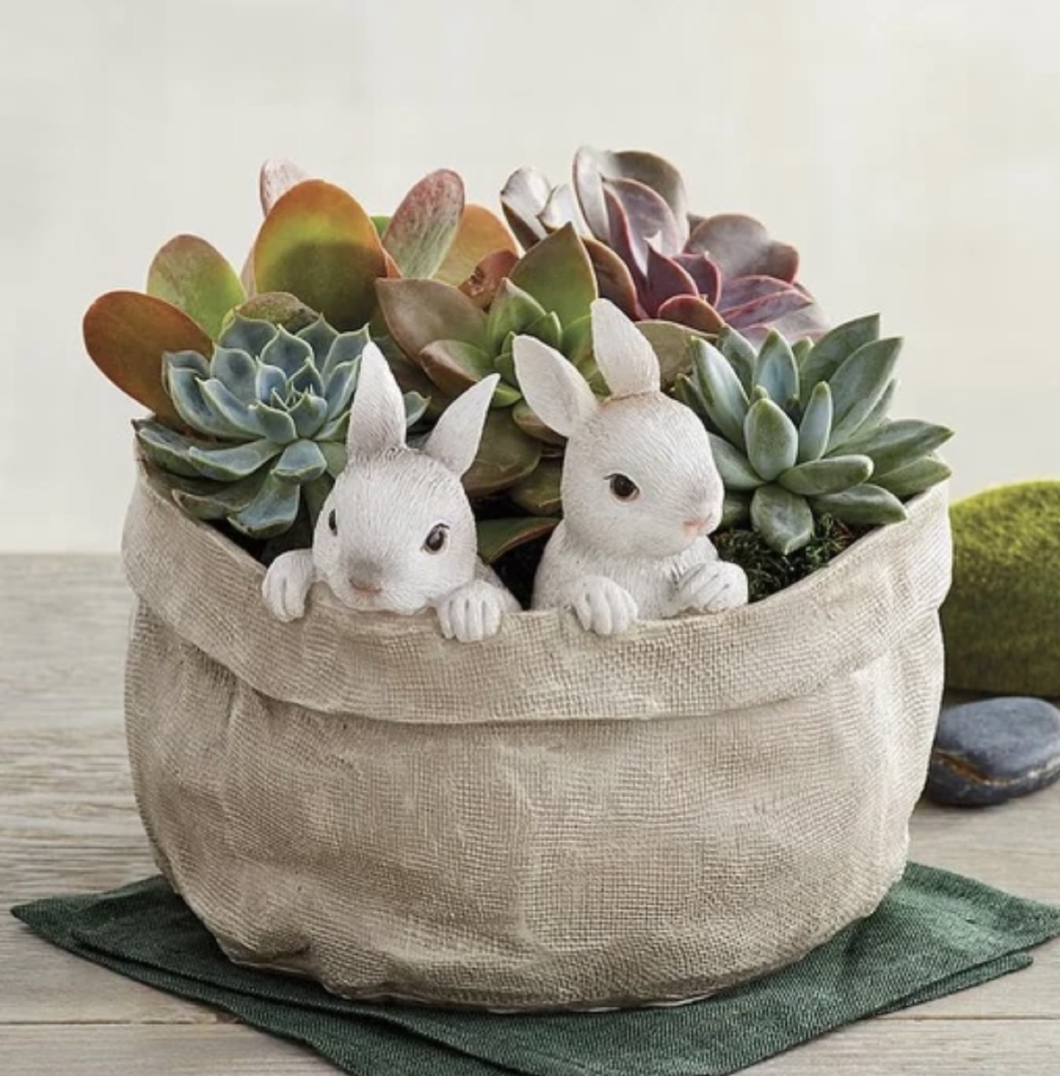 brown basket of succulents with two bunny figures in it