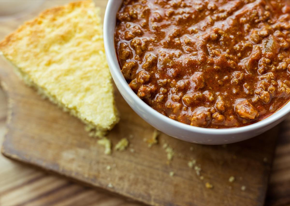 texas chili bowl next to cornbread