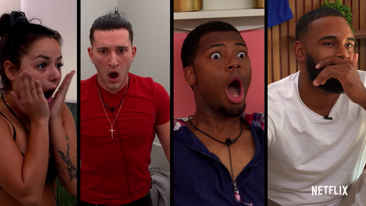 cast members of the circle on netflix look shocked, from left sammie, joey, seaburn, and antonio