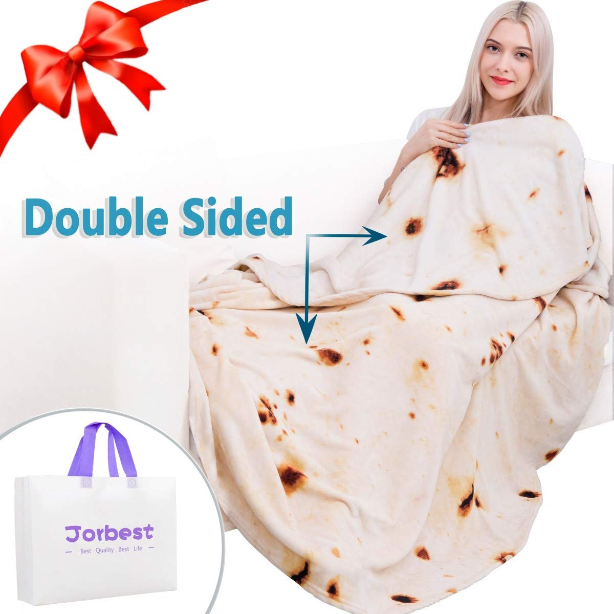 young blonde woman in burrito blanket