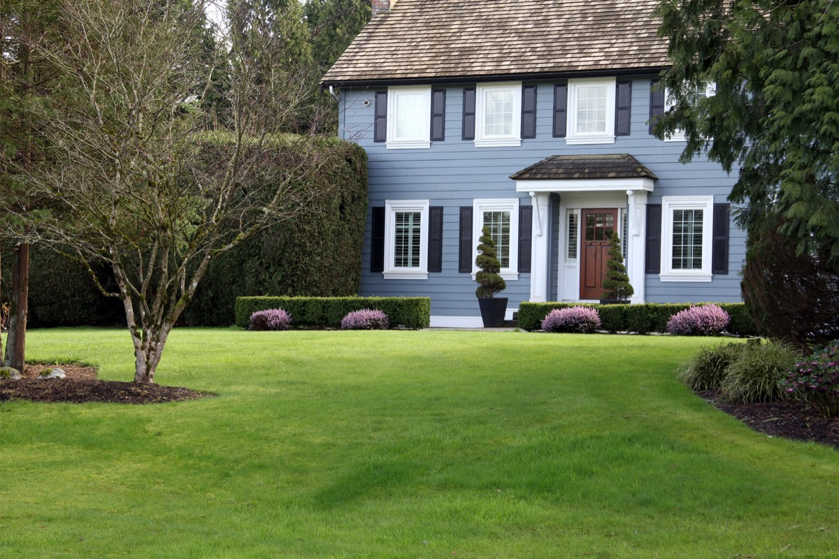 traditional blue home with dark shutters