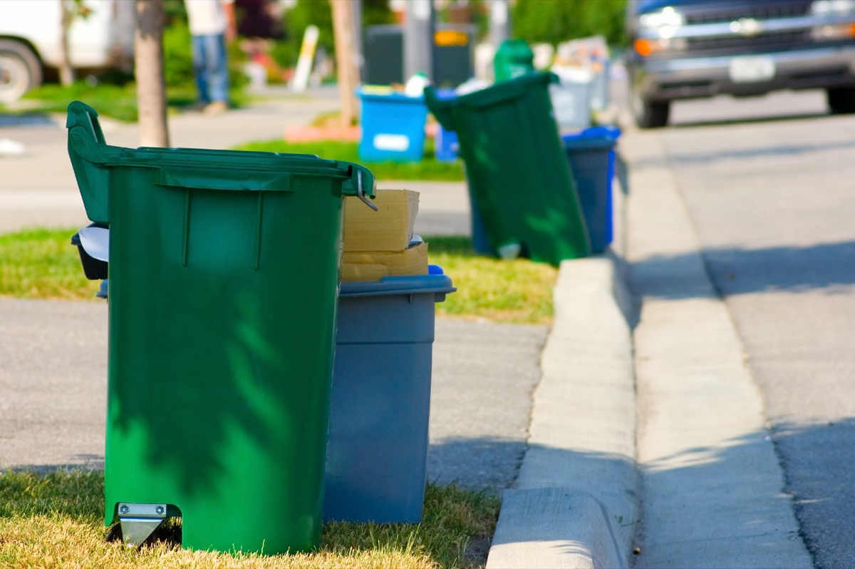 Green and blue recycling bins by the curb on a residential street.