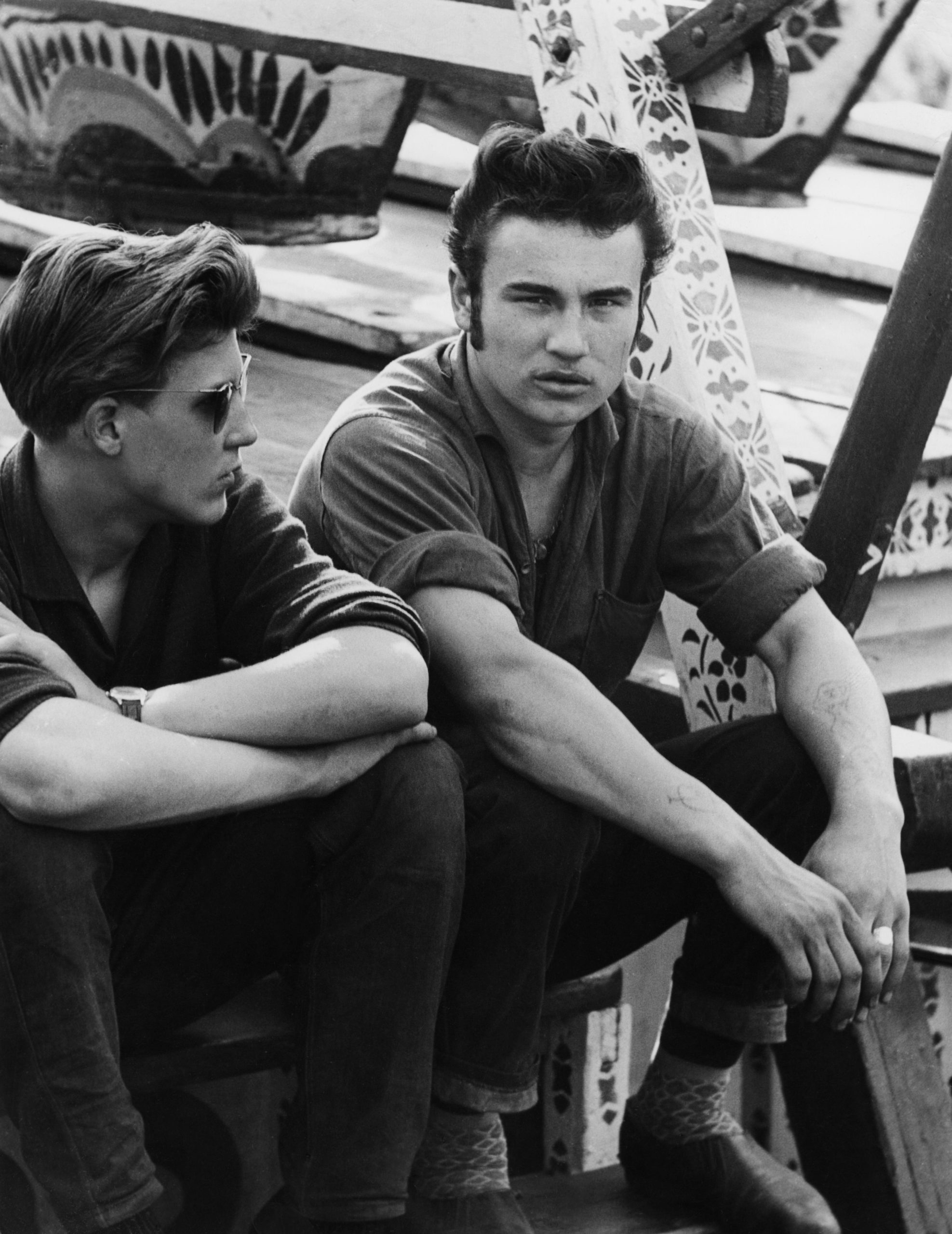 Two male teens at carnival in 1950s