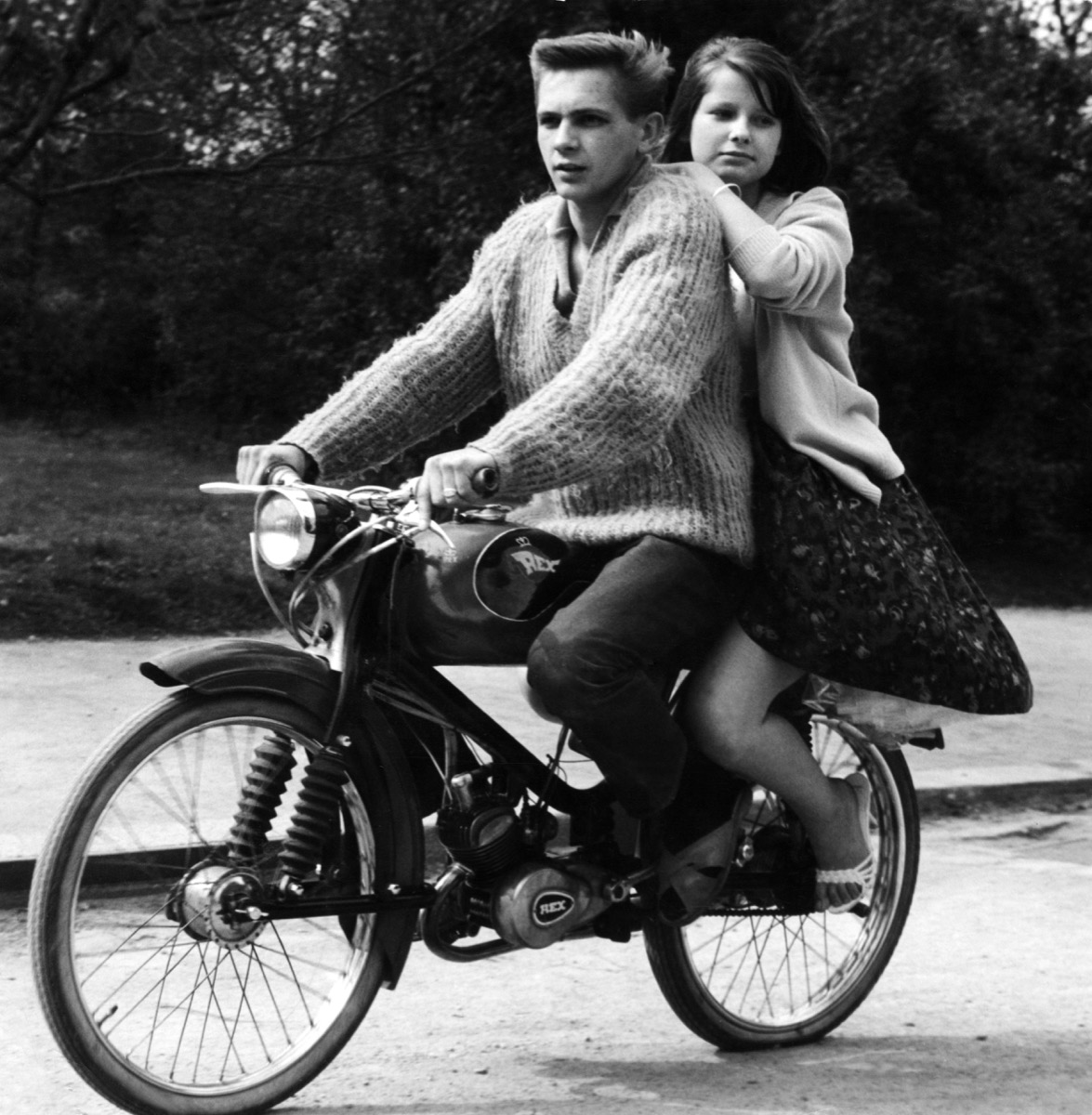 young couple on autocycle by Rex, 1950s
