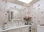 bathroom with butterfly wallpaper