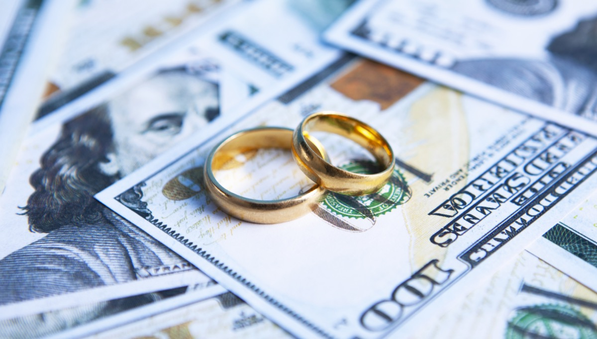 wedding rings on top of a pile of money
