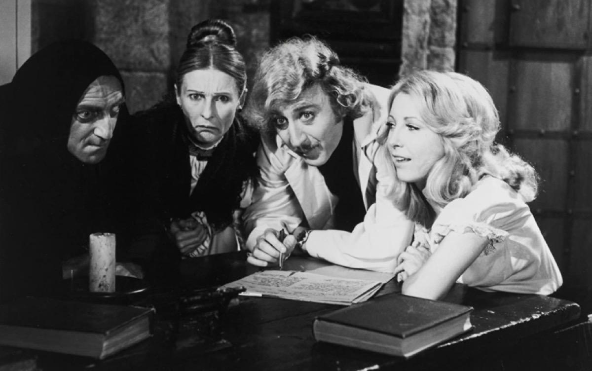 Marty Feldman, Cloris Leachman, Gene Wilder, and Teri Garr in Young Frankenstein