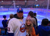 Amanda Bono with her boyfriend at an New York Islanders game