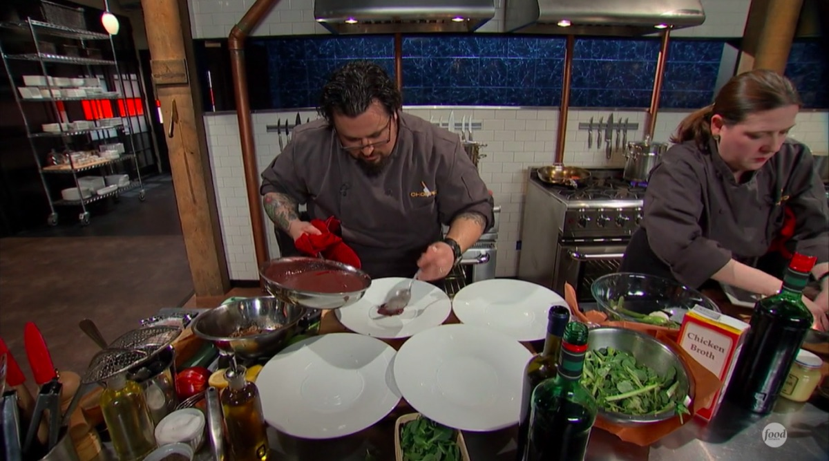 Two chef contestants compete in an episode of Chopped