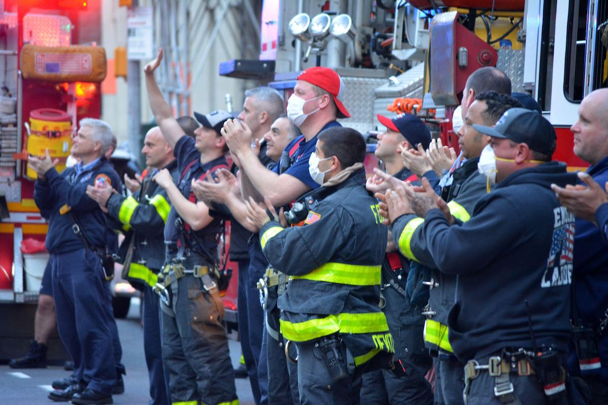 Members of the FDNY across from New York Presbyterian Hospital thanking the staff for their work fighting the coronavirus pandemic in Lower Manhattan.