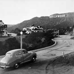 black and white photo of the hollywood sign in the 1950s