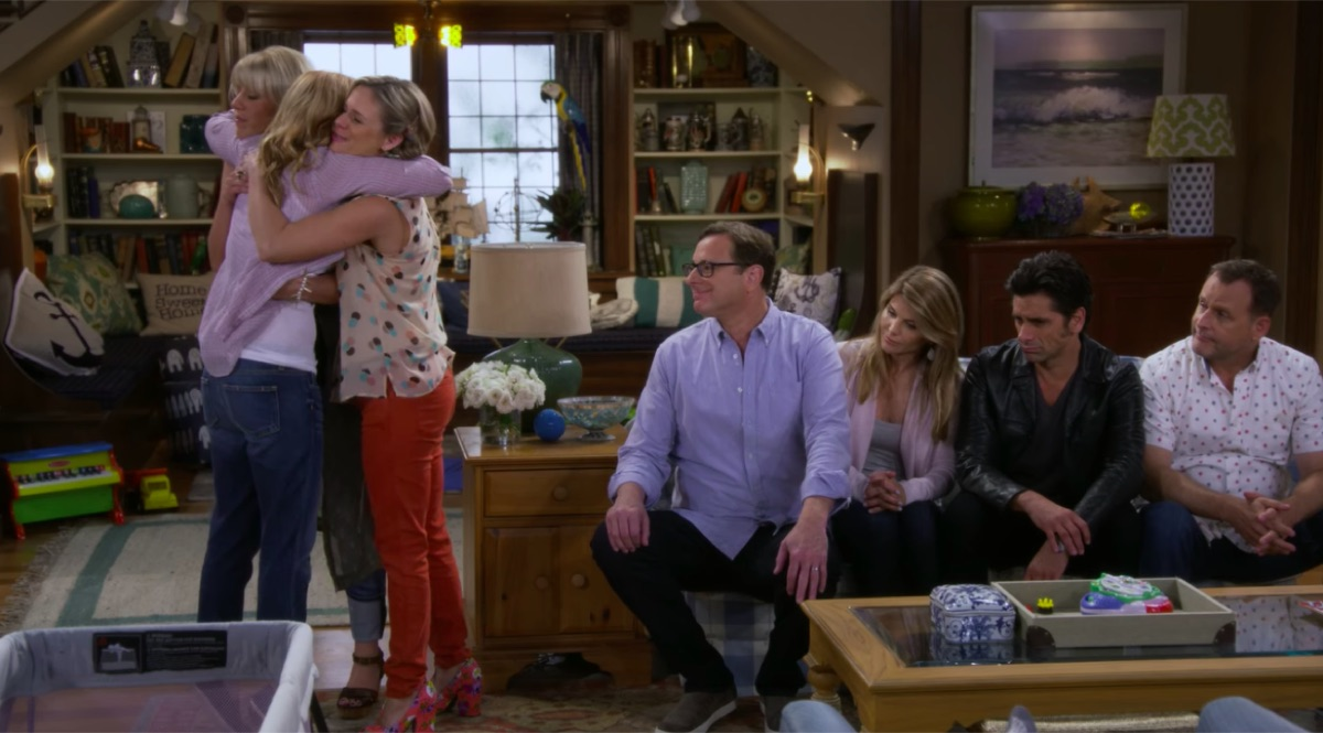 Candace Cameron Bure, Jodie Sweetin, Andrea Barber, Bob Saget, Lori Loughlin, John Stamos, and Dave Coulier in Fuller House