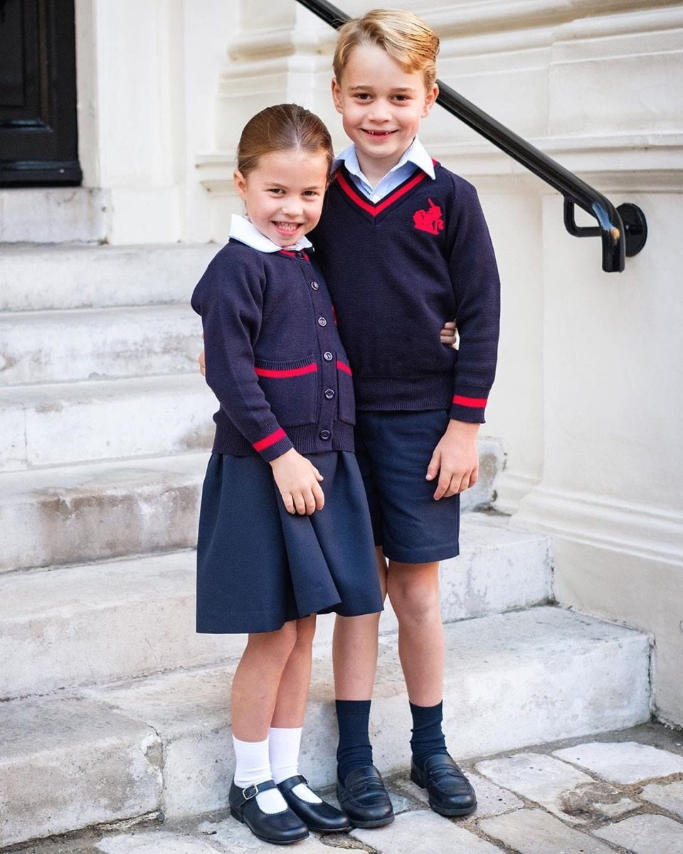 george and charlotte on charlotte's first day of school