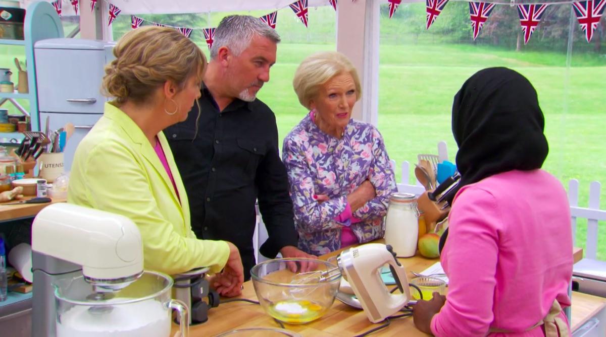 Mel Giedroyc, Paul Hollywood, Mary Berry and Nadiya Hussain in Great British Baking Show