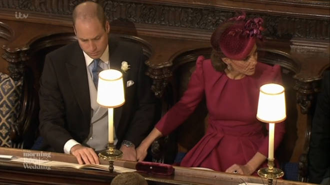 Kate puts hand on William's knee at Princess Eugenie's wedding in 2018