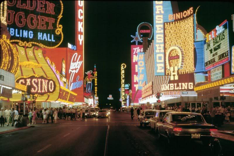 casino lights in las vegas in the 1960s