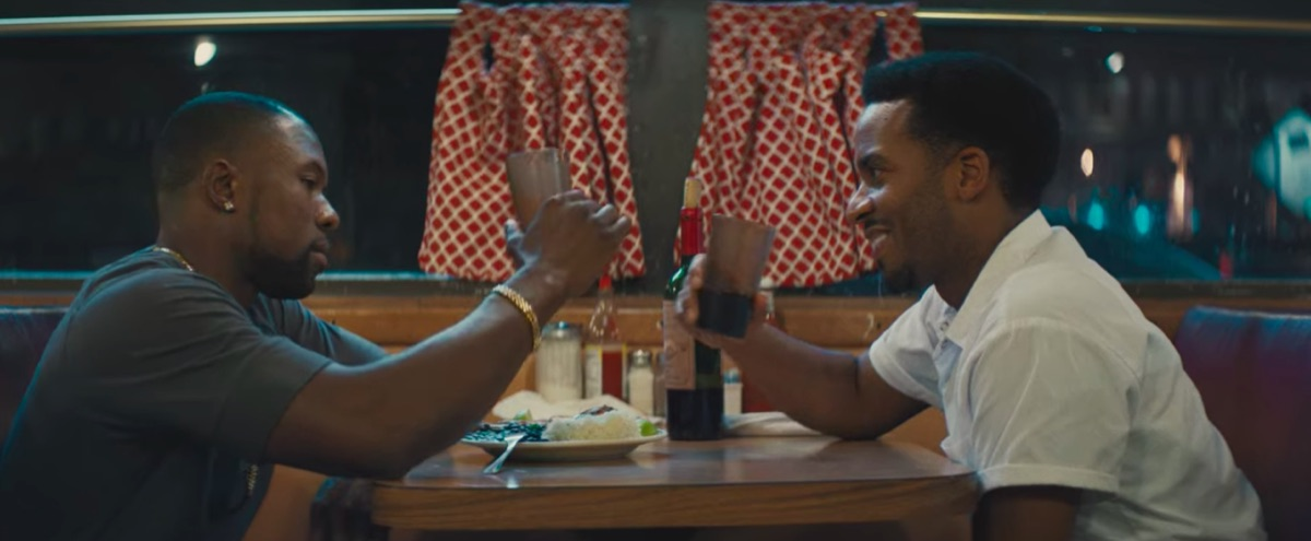 Trevante Rhodes and André Holland in Moonlight