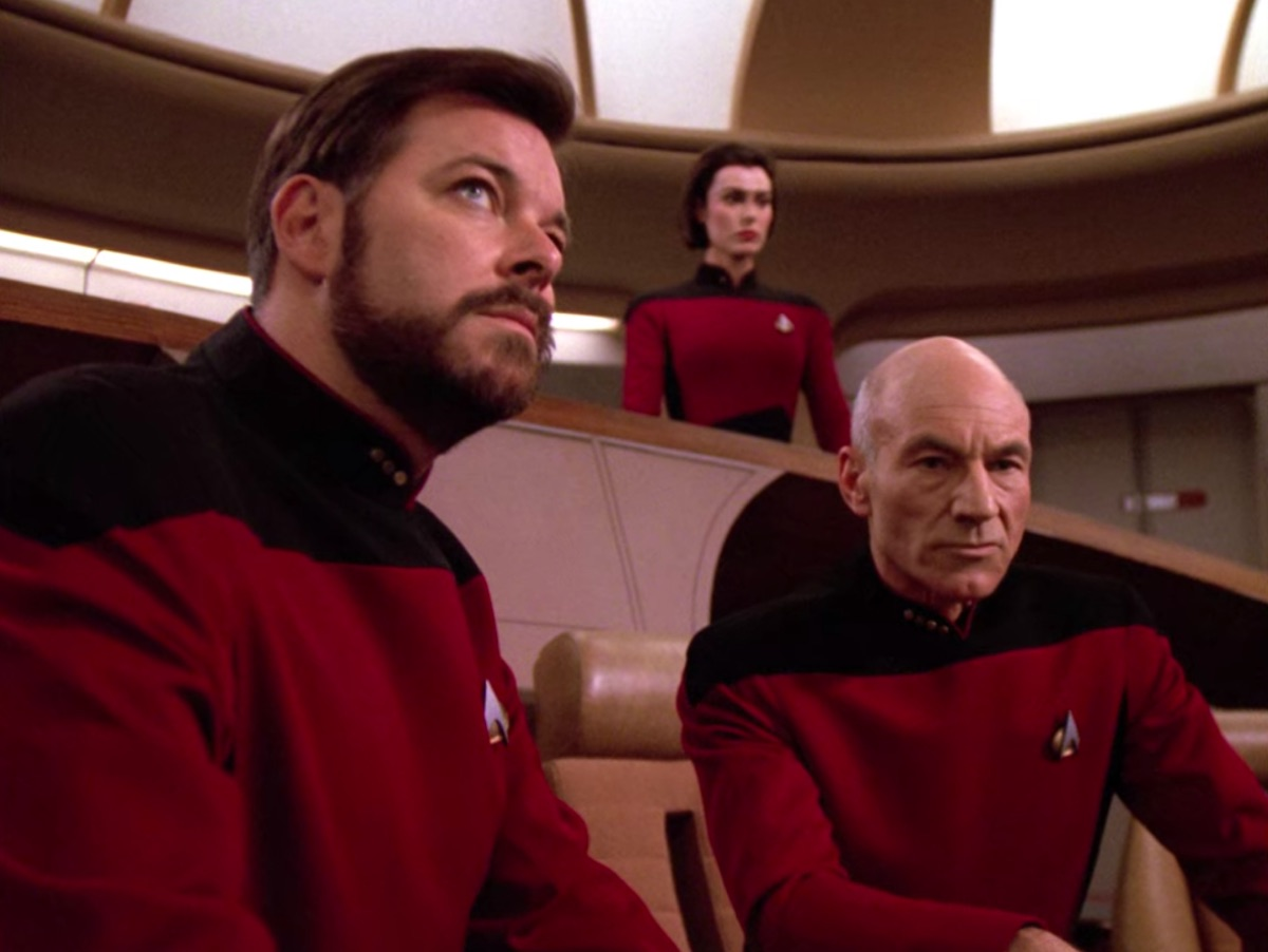 Jonathan Frakes and Patrick Stewart in Star Wars: The Next Generation