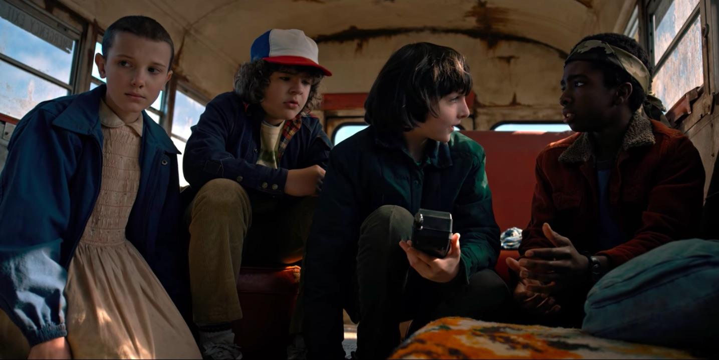 Millie Bobby Brown, Gaten Matarazzo, Finn Wolfhard, and Caleb McLaughlin in Stranger Things