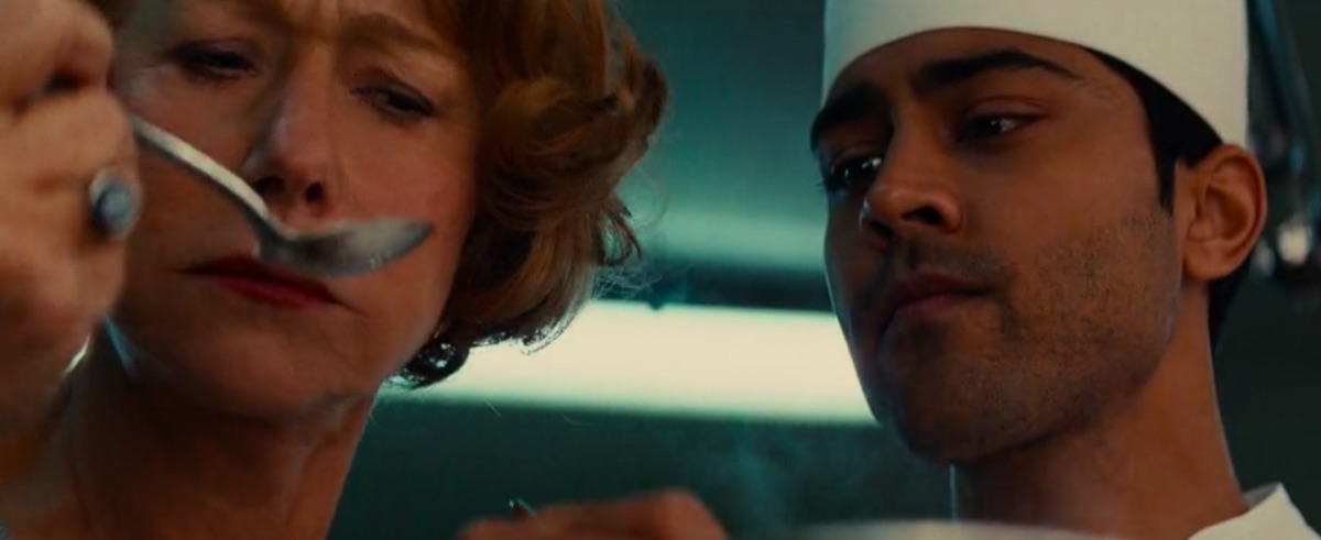 Helen Mirren and Manish Dayal in The Hundred-Foot Journey