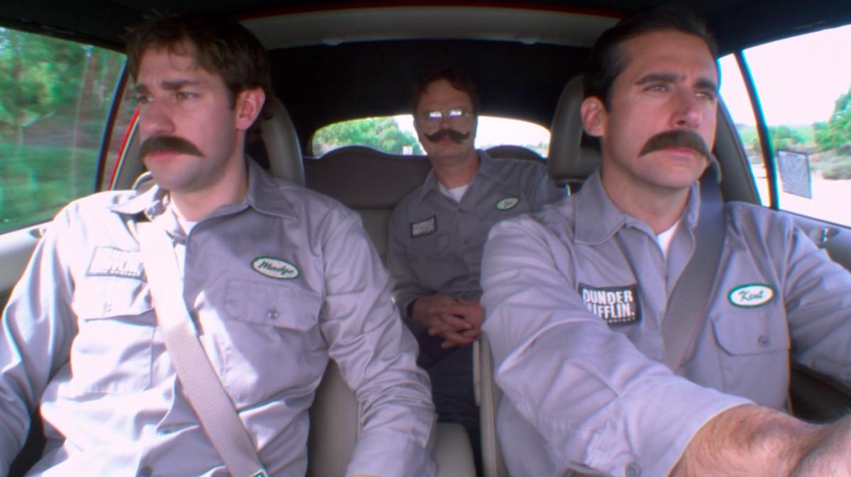 John Krasinski, Rainn Wilson, and Steve Carell in