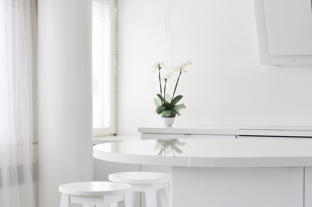 all white minimalist kitchen