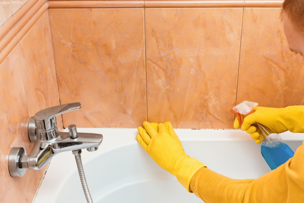 Cleaning mold in shower