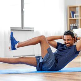 Man doing bicycle workout