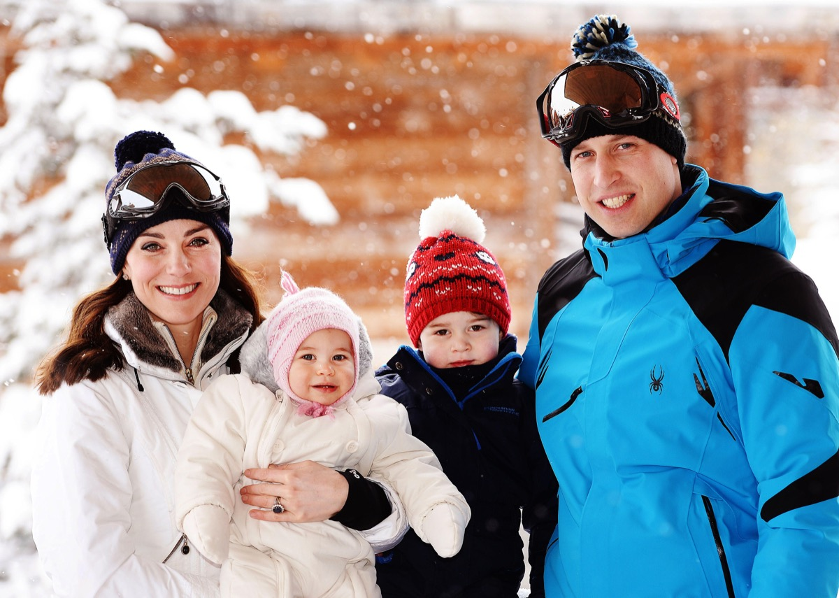 The Duke and Duchess of Cambridge with their children, Princess Charlotte and Princess George, enjoying a short private break skiing in the French Alps